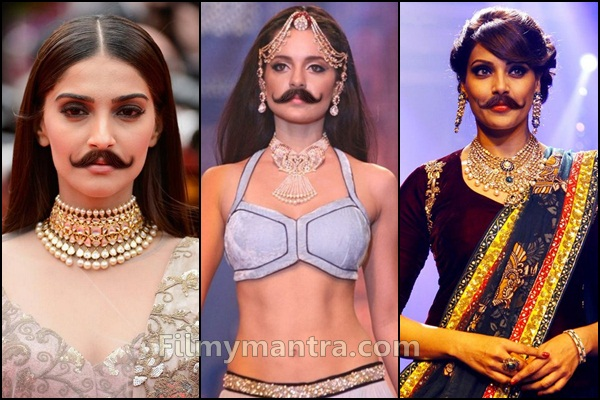 Bollywood Actresses with Mustaches