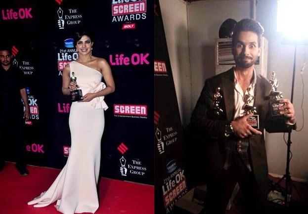 Shahid Kapoor and Priyanka Chopra won Big awards at 21st Annual Screening awards