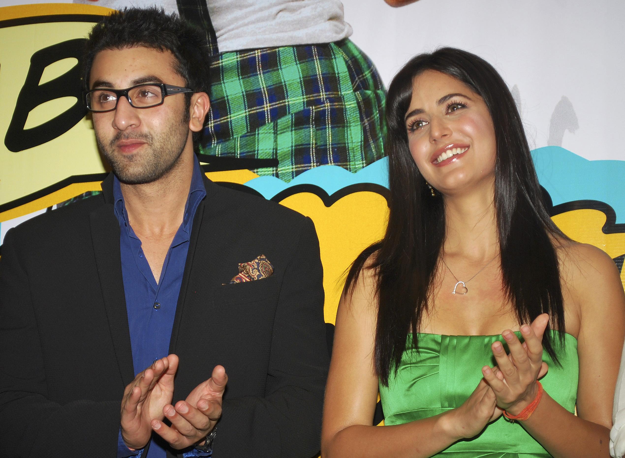 Bollywood actors Ranbir and Katrina attend a party in Mumbai