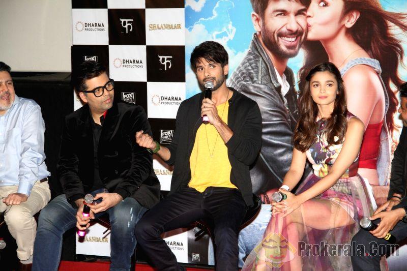 Karan Johar, Shahid Kapoor and Alia bhatt at the trailer launch of 'Shaandaar'