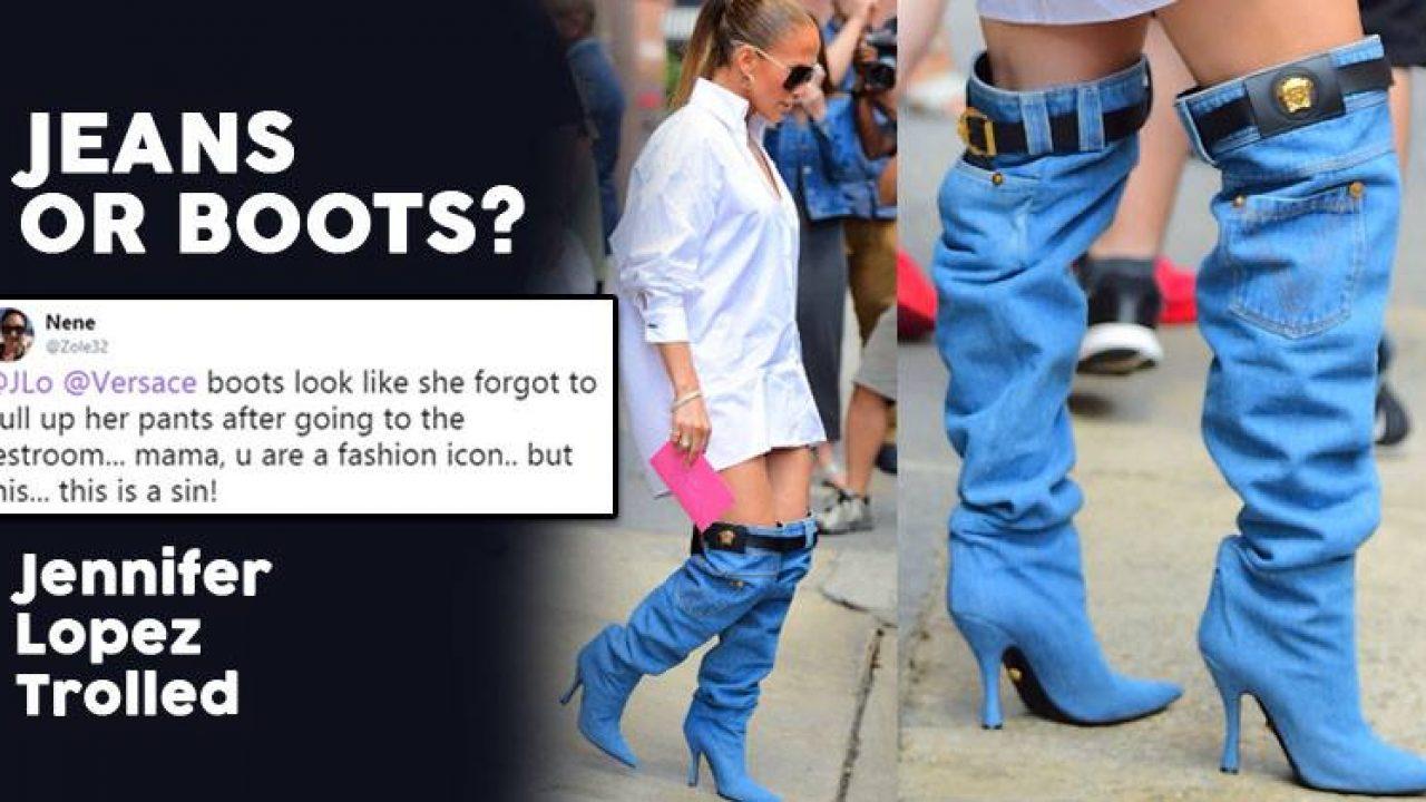 Jennifer Lopez\u0027s Bizarre Denim Boots Started A Meme Fest