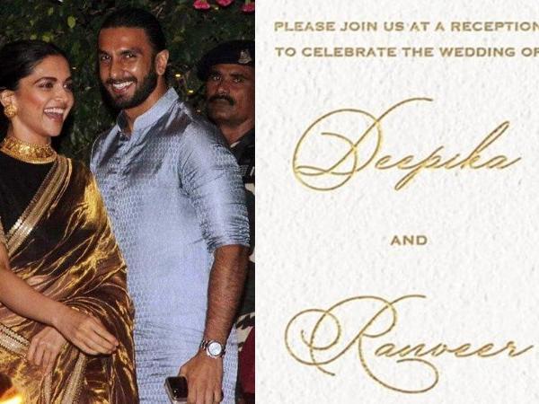 Deepika Padukone and Ranveer Singh's Wedding Reception Card!