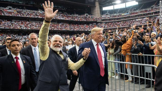 Image result for Modi and Trump in football stadiuim