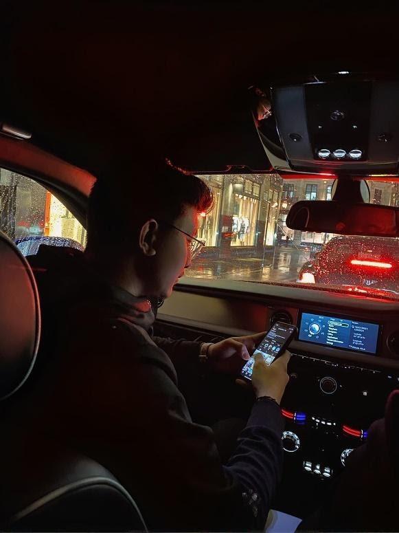 Yashraj Rautela in Piccadilly Circus, London in Rolls Royce January 2021